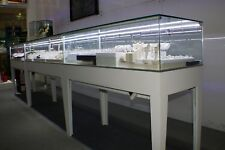 48 Clear Glass Rectangular Displaying Showcase With White Wooden Frame With Led