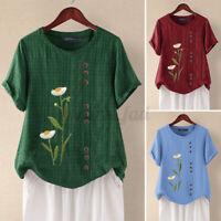 ZANZEA Women's Summer Top Tee Blouse Shirt Retro Blouse Floral Short Sleeve Plus