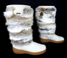 OSCAR Sport 'NORMA' 7 Women's Rabbit Fur Apres Ski Boots Italy NWOB