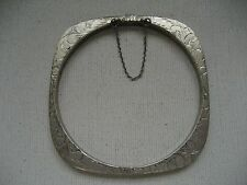 VINTAGE ETCHED STERLING SILVER ROUNDED SQUARE BANGLE BRACELET w/ SAFETY CHAIN