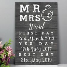 Personalised Mr & Mrs First Day Yes Day & Best Day Metal Sign Wedding Plaque