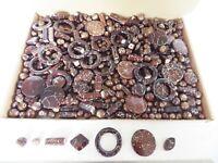 JOB LOT: One kilo (1 kg)  of Chocolate/Silver Acrylic Beads - many shapes/sizes