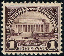 #571 1 DOLLAR 1922 PERF 11 FLAT PLATE ISSUE MINT-OG/NH