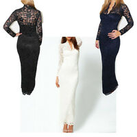 Womens Lace Floral Maxi V-neck Long Sleeve Bodycon Prom Cocktail Evening Dress