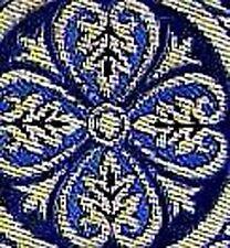 Wide, Blue, Jacquard Trim. Vestment. Medieval Style