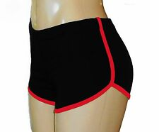 Black Retro Running Shorts with Neon Red Trim Large