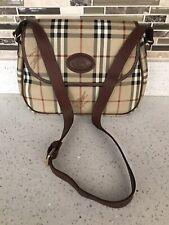 Vintage Burberry Coated Canvas & Leather Trim Haymarket Crossbody/Shoulder Bag