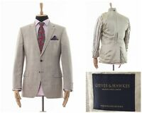 Mens GIEVES & HAWKES Blazer Coat Jacket Wool Two Button Checked Beige Size 40 50