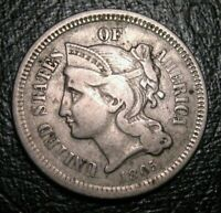 Old US Coins 1865 Civil War Obsolete Highgrade Three Cent Piece