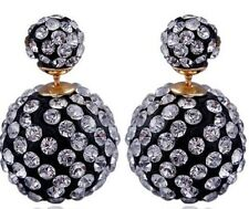 LARGE SHAMBALLA CLEAR CRYSTAL BALL DOUBLE STUD EARRINGS 16MM