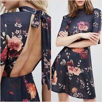 Topshop Purple Open Back Skater Floral Tea Mini Dress Size 6 XS Blogger ❤