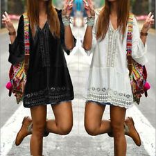 Plus Size Womens V Neck Flare Sleeve Sundress Casual Boho Beach Mini Shirt Dress