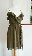 Vintage un original Milly Vestido Verde S 8 10 12 90s 00s De Seda De Imitación Envoltura de la colmena