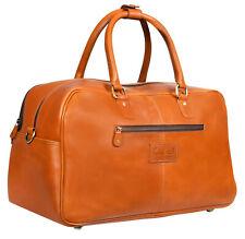 Mens Genuine Tan Leather Overnight Travel Gym Vintage Duffle Luggage Bag