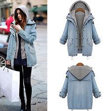 Womens Jacket Denim Jean Coat Hoodie Hooded 2Pcs Suit With Detachable Waistcoat