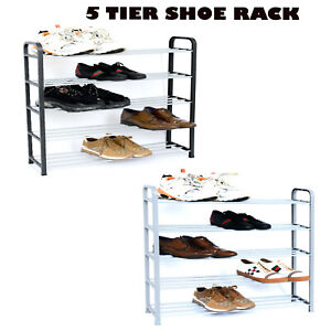 5 TIER SHOE RACK EXTENDABLE & STACKABLE ORGANISER FOR 20 PAIRS SHOES WATERPROOF