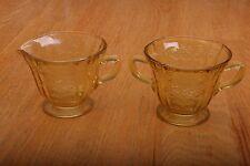 Vintage Federal Depression Glass Madrid Sugar Bowl and Cream Set Amber