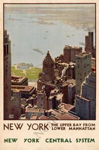 Vintage New York Harbor train travel poster repro 24x36