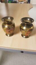 Pair of Vintage Etched Brass & Black Enamel Vase decoration  2 for $ 15