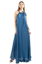 ESSENTIEL ANTWERP Satin Maxi Dress Size 36 / S Blue Self Tie Bow Sleeveless
