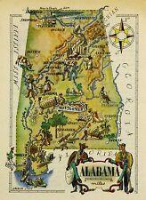 Alabama Antique Vintage Pictorial Map