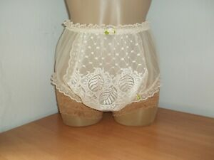 Sissy Sheer Nylon Full Briefs Panties Knickers with Double Layer Front Ivory