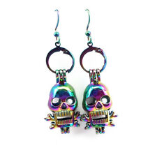 Rainbow Color Skull Pearl Cage Earrings Hooks with 8mm Plastic Beads /Z220