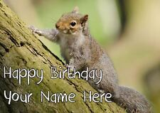 Grey Squirrel All Occasions Personalised Greeting Card Birthday Mothers PIDVV4