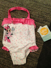 Girls-Pink-12M-18M-Minnie-Mouse-Swimsuit-One-Piece-Bathing-Suit-Disney-Store