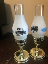 Vintage Automobile FORD Model T & A  Glass Electric Lamp Hurricane Shade/Chimney