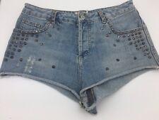 Ladies TOPSHOP MOTO Denim Shorts Hotpants Studded Light Blue FESTIVAL W30 12