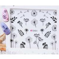 2 Sheet 3D Nail Sticker Dandelion Flower Adhesive Nail Art Transfer Decals Tip