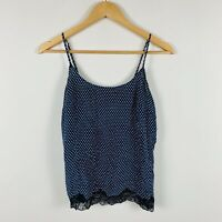 Stella McCartney Womens Cami Top Size Small Silk Blue Polka Dot Black Lace