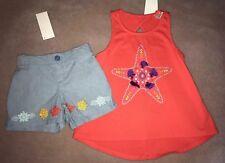 Gymboree Girls Starfish Coral Swing Tank Chambray Shorts Size 5