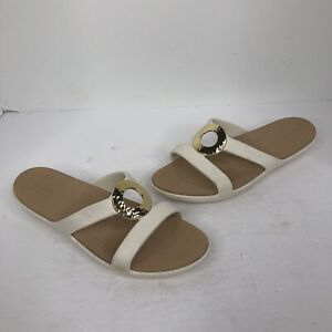 Women's Crocs Dual Comfort Sandals slides ivory gold ring size 9