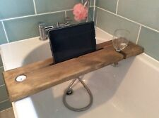 wooden bath caddy plank relax pine tray natural oak phone tablet valentine