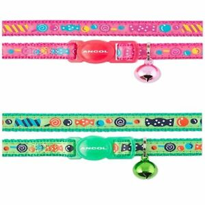 Ancol sweeties Soft Cat collar with/without Engraved Medal ID Pink/Green