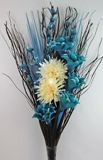 HANDMADE ARTIFICIAL SILK TEAL LILY & CREAM FLOWER BOUQUET 95cm (FREE LED LIGHTS)