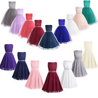 Girls Lace Chiffon Flower Princess Pageant Wedding Bridesmaid Party Formal Dress