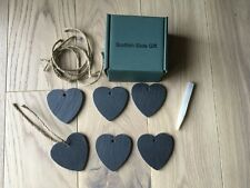 Slate Garden Plant/Flower Heart Tags/Labels with string , set of 6