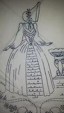 Vintage Robin Embroidery Crinoline Lady Transfer Pattern 8063
