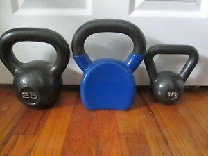 Cast Iron Kettlebells Sets Solid Kettlebell Weights Workout 10 20 25 Lbs LOT X3