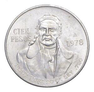 MEXICO 1978 100 PESOS SOLID SILVER COIN MORELOS LOW MINTAGE UNCIRCULATED *146