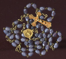VINTAGE ROSARY PURPLE FACETED GLASS BEADS OUR LADY OF LOURDES WITH POCKET