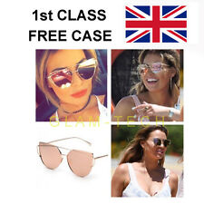 ROSE GOLD MIRRORED CAT EYE SUNGLASSES AS SEEN IN LOVE ISLAND FREE CASE 1ST CLASS