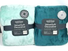 """Set of 2 Berkshire Velvet Soft Super Oversized 60""""x80"""" Throw Blankets NEW TEAL"""