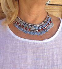 Collar monedas y coral aleación plata gargantilla boho Zamak collar étnico gypsy