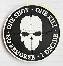 ONE SHOT SKULL 3D PVC PATCH ARMY TACTICAL MORALE BADGE WHITE RUBBER HOOK PATCH