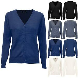 Womens Ladies Long Sleeve V Neck Jumper Buttons Warm Knitted Sweater Cardigan