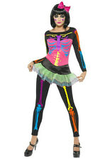Neon Skeleton with Skirt Adult Costume Size SM 6-8